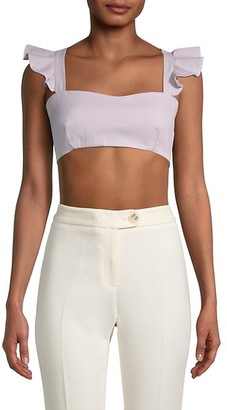 Milly Ruffle-Trim Cotton Cropped Top