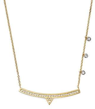"""Meira T 14K White and Yellow Gold Curved Bar Necklace with Diamonds, 14"""""""