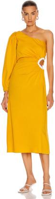 Johanna Ortiz Refulgence of Stars Midi Dress in Yellow Ochre   FWRD