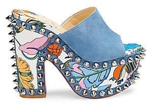 Christian Louboutin Women's Massivatac Studded Floral Platform Block-Heel Mules