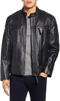 Bagatelle Quilted Shoulder Lambskin Leather Moto Jacket
