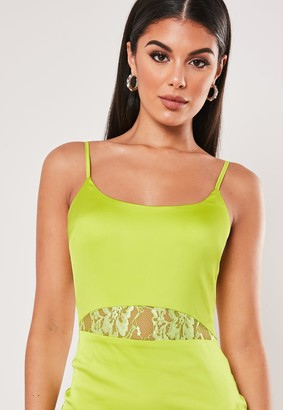 Missguided Lime Lace Insert Stretch Satin Mini Dress