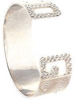Dolce & Gabbana Silver Tone Clear Rhinestone Logo Letter Cuff Bracelet
