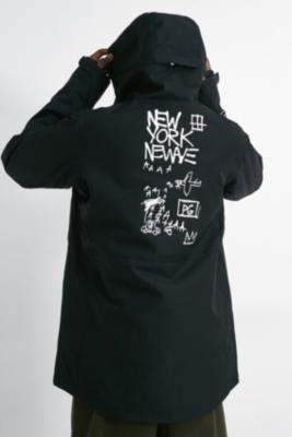 Billabong Basquiat Adversary Black Hooded Jacket - black S at Urban Outfitters
