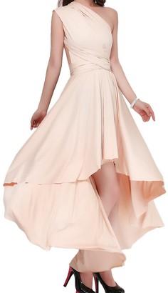OBEEII Women High Low Convertible Multiway Wrap Dress Elegant Asymmetric Bandage Dresses Wedding Bridesmaid Evening Prom Wedding Party Bridesmaid Ball Gown Apricot L