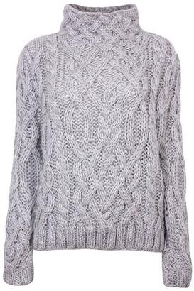 Zut London Alpaca Blend Hand Knitted High Neck Sweater - Grey