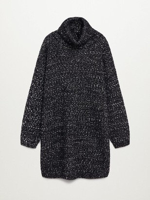 MANGO Roll Neck Knitted Pepper Dress - Black
