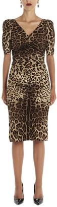 Dolce & Gabbana Leopard Print Ruched Midi Dress