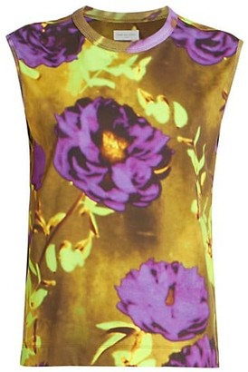 Dries Van Noten Floral-Print Sleeveless T-Shirt