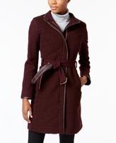 Vince Camuto Petite Faux-Leather-Trim Bouclé Coat