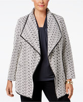 Calvin Klein Plus Size Draped Houndstooth Jacket