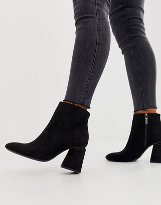 Bershka faux suede zip side kitten heel boots in black