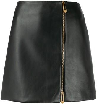 Versace asymmetric-zip A-line skirt