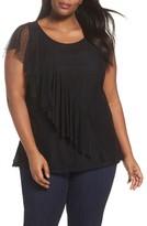 Sejour Plus Size Women's Ruffled Dot Mesh Top