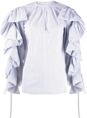 Givenchy Pinstriped Ruffled Sleeves Blouse