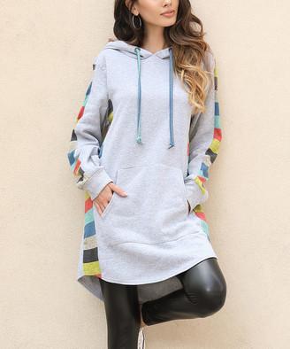 Z Avenue Women's Sweatshirts and Hoodies Heather - Heather Grey Rainbow Side Stripe Hoodie - Women & Plus