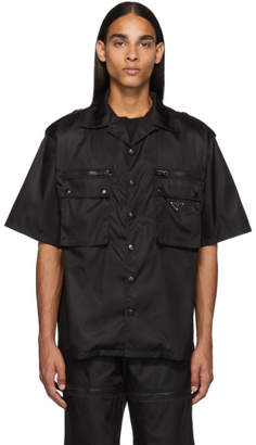 Prada Black Nylon Gabardine Pocket Shirt