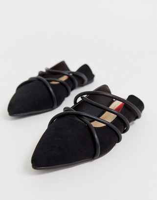London Rebel pointed strappy mules in black