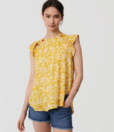 LOFT Floral Ruffle Shoulder Shell