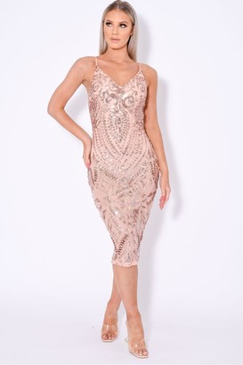 Nazz Collection Body On Me Luxe Sheer Embellished Sequin Bodysuit Dress
