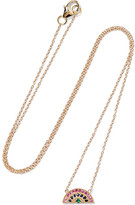 Andrea Fohrman Rainbow 14-karat Gold, Sapphire And Emerald Necklace - one size