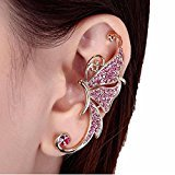Kingfansion Splendid Cute Crystal Butterfly Wings Ear Clip Clamp Earring Fashion Jewelry for Women(only 1pc) (Pink)