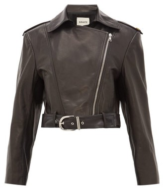 KHAITE Jennifer Silk-lined Leather Biker Jacket - Womens - Black