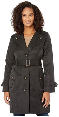 London Fog Amanda Button Lapel Trench Coat (Black) Women's Coat