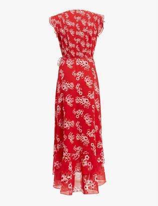 AllSaints Dela floral-print crepe maxi dress