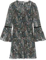 Veronica Beard Denver Printed Silk-chiffon Mini Dress - Petrol
