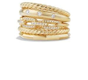 David Yurman Stax Wide Ring with Diamonds in 18K Yellow Gold