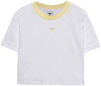 adidas Cropped Embroidered Cotton-jersey T-shirt