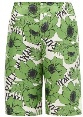 Gucci Poppy-print Silk Shorts - Green Multi