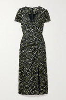 Thumbnail for your product : Jason Wu Collection Lace-trimmed Gathered Floral-print Crinkled-satin Midi Dress - Black