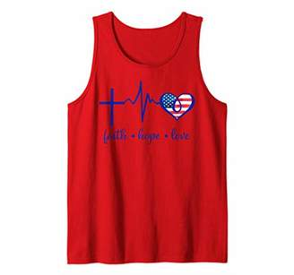 Womens Faith Hope and Love Christian 4th of July Flag Tank Top