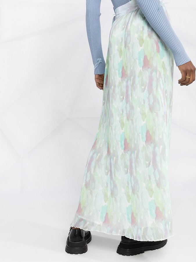 Thumbnail for your product : Ganni Pleated Georgette Maxi Skirt