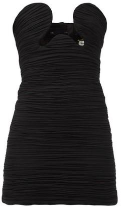 Saint Laurent Cutout Ruched Georgette Mini Dress - Black