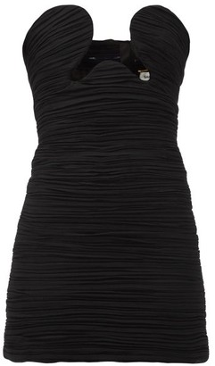 Saint Laurent Cutout Ruched Georgette Mini Dress - Womens - Black