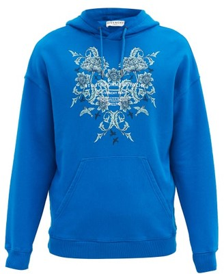 Givenchy Floral-print Cotton-jersey Hooded Sweatshirt - Blue