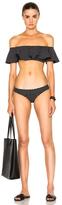Lisa Marie Fernandez Mira Flounce Bikini in Black,Geometric Print.