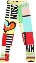 Moschino Logo Printed Cotton Jersey Leggings