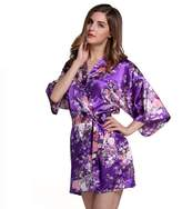 Cliont Women's Kimono Robes Blossoms Floral Pattern Satin Nightwear Nightgown Short Style
