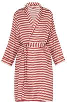 All At Sea - Wave Print Silk Robe - Mens - Red