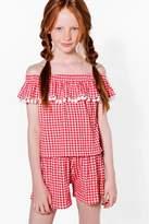 boohoo Girls Gingham Bardot Pom Pom Top & Short Set red