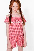 Boohoo Girls Gingham Bardot Pom Pom Top & Short Set