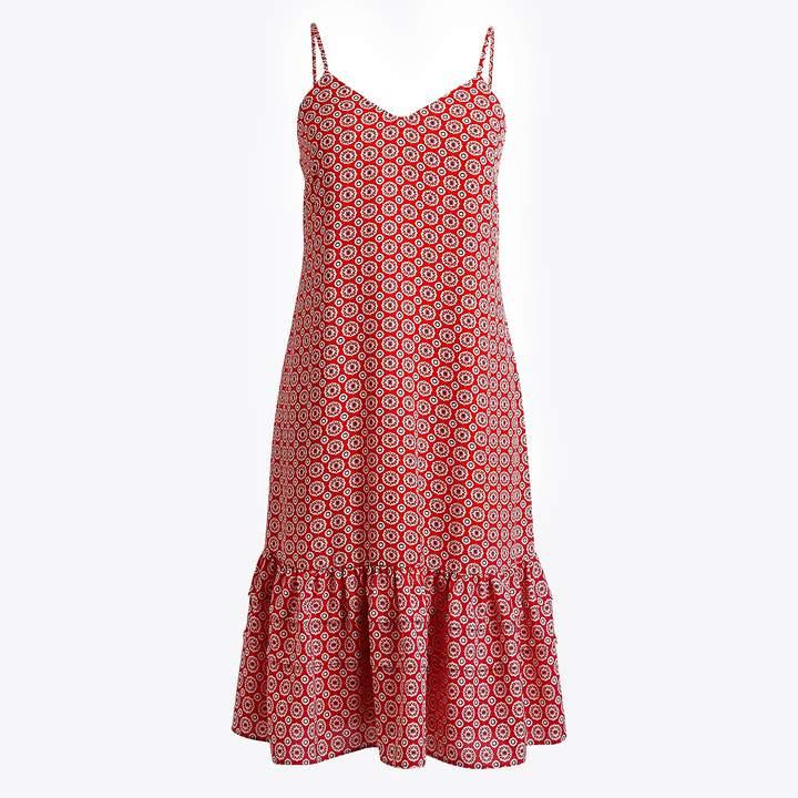 J.Crew Printed ruffle-hem spaghetti strap dress