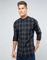 Lindbergh Shirt Regular Fit With Grandad Collar In Gray Check
