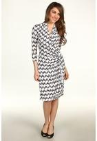 Karen Kane Zig Zag Print Cascade Wrap Dress (Print) - Apparel
