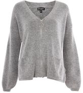 Topshop Super soft cardigan with ring puller zip