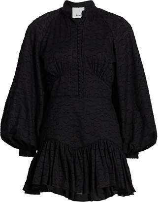 Acler Bastia Puff Sleeve Lace-Up Back Dress